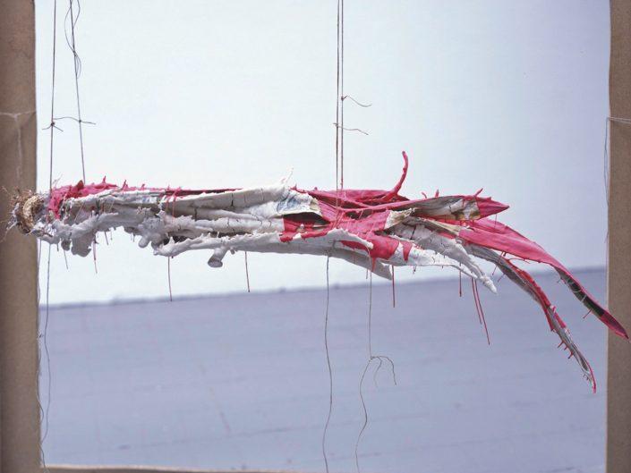 Christoph Both-Asmus, Creature (1), 2007, sculpture, plant, tapioca starch, binder, wood, hemp rope