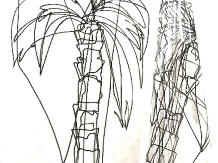 Sara Berti, Palms, 2015, Palms , 2015, Uniposca on plastic, 300 x 195 cm
