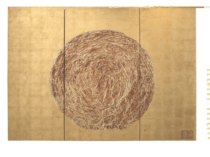 Franziska Rutishauser STRAW & GOLD NR.6, 2006, three-part, oil on canvas, composite gold, acrylic glass, 190 x 465 cm